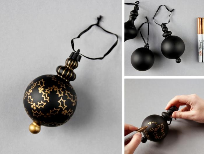 idée deco de noel a faire soi meme, exemple de boules de Noël peinte en noir mat avec dessins motifs Noël en or