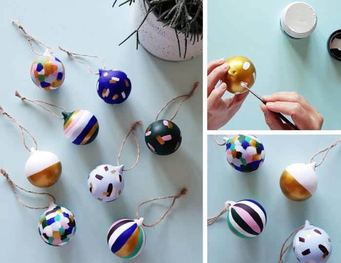 exemple comment customiser une boule de noel transparente avec pinceau et peintures de différentes couleurs