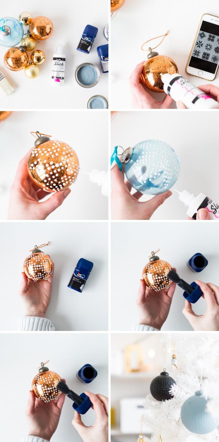 pas à pas facile et rapide pour personnaliser un ornement de sapin, idée deco de noel a faire soi meme avec peinture tissu