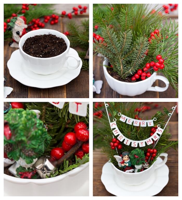 petit terrarium en tasse à thé blanche avec deco de branches de sapin, houx rouge, deco table noel a fabriquer