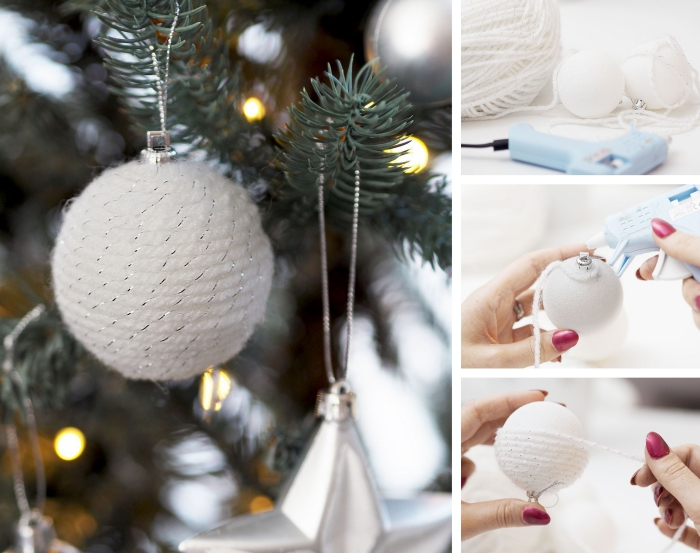exemple comment personnaliser une boule de noel en verre ou plastique avec ficelle en laine et pistolet à colle chaude