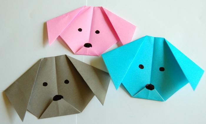 pliage-origami-en-papier-coloré-animaux-origami-chien-origami-bleu-rose-beige