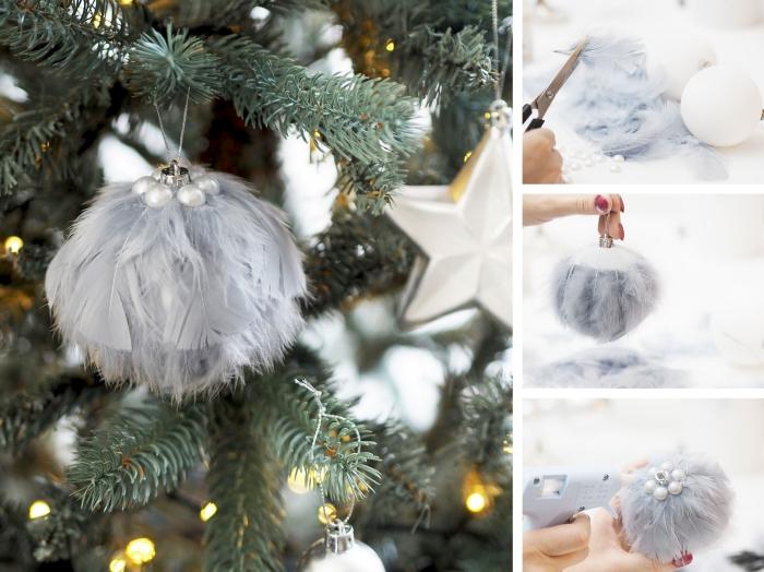 deco de noel a faire soi meme avec recup, modèle d'ornement Noël personnalisé avec plumes grises et perles blanches