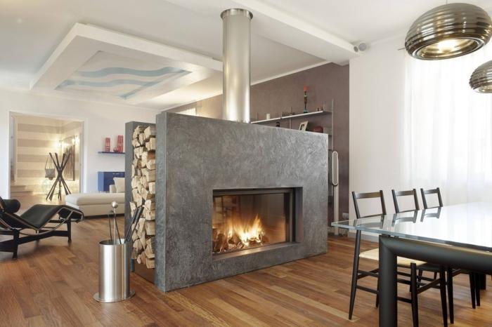 poêle-à-bois-design-contemporaine-poele-bois-cheminée-centrale
