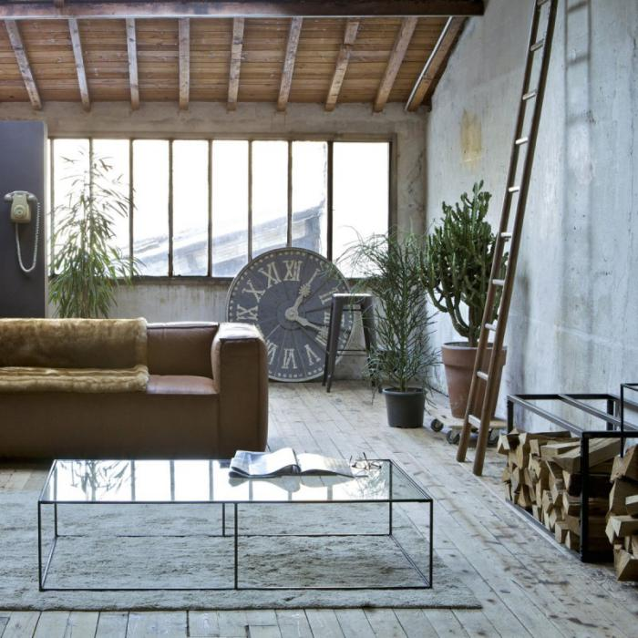 range-buches-salon-loft-contemporain-rangement-de-buches-métallique