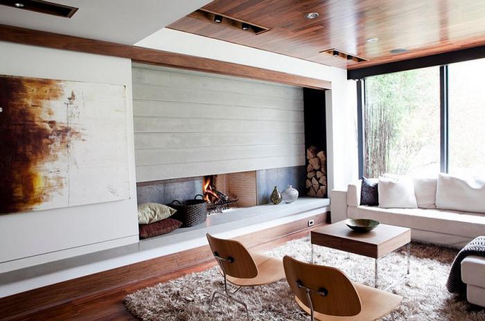 range-buches-mural-salon-tapis-moelleux-cheminée-moderne-encastrable