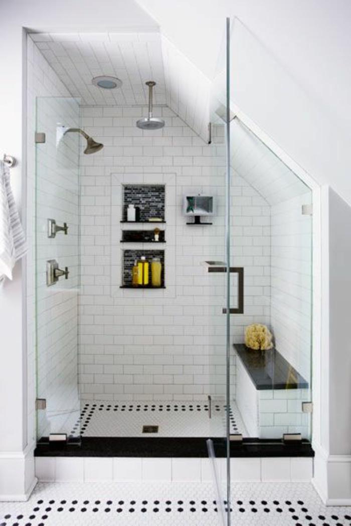 Vous cherchez des id es pour un carrelage noir et blanc - Salle de bain mansardee photos ...
