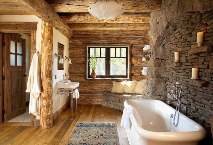 Les beaux exemples de salle de bain rustique - 40 photos ...