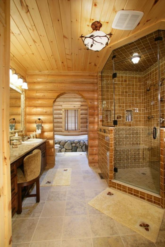 Les beaux exemples de salle de bain rustique 40 photos for Interieur salle de bain