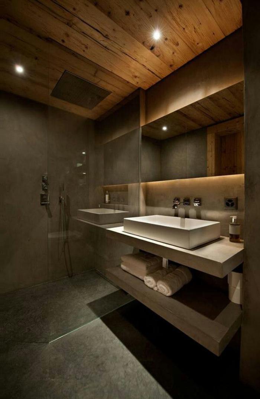 Les beaux exemples de salle de bain rustique 40 photos - Interieur salle de bain moderne ...