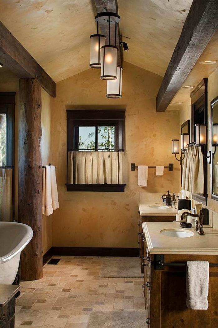 Les beaux exemples de salle de bain rustique 40 photos - Plafond bois salle de bain ...
