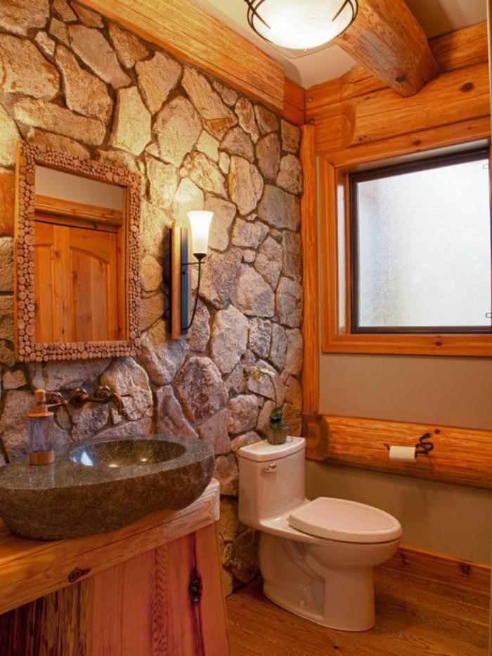 les beaux exemples de salle de bain rustique - 40 photos ... - Salle De Bain Bois Pierre