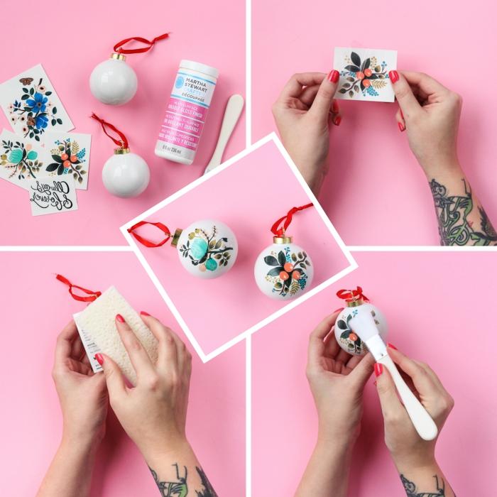 activité manuelle noel facile, tutoriel comment personnaliser une boule de Noël blanche avec stickers autocollants