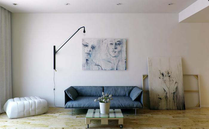 table-de-salon-carrée-petite-table-carrée-bleu-sofa-et-peintures-artistiques