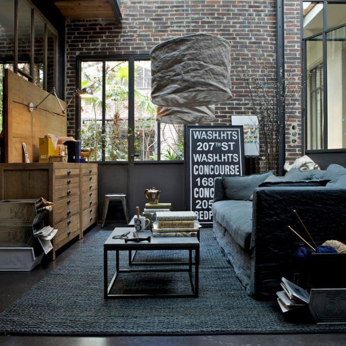 Int rieurs avec table de salon carr e belles solutions pour votre salon - Salon loft industriel ...