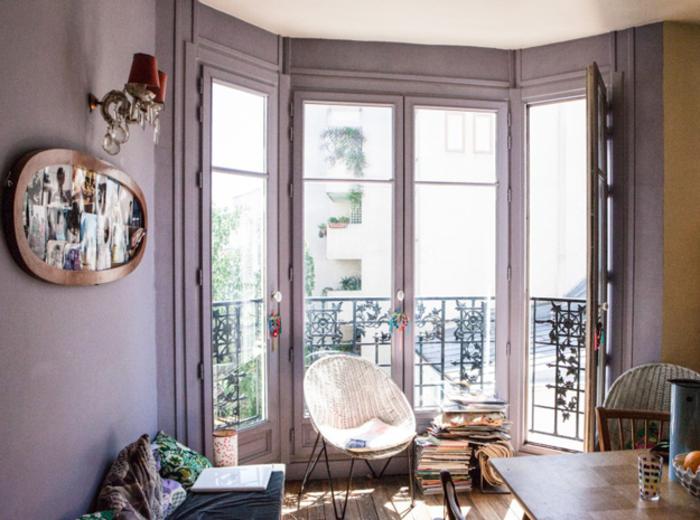 tapis-mauve-couleur-lilas-la-chambre-à-coucher-balcon