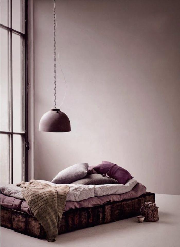 tapis-mauve-couleur-lilas-la-chambre-à-coucher-lit-originale