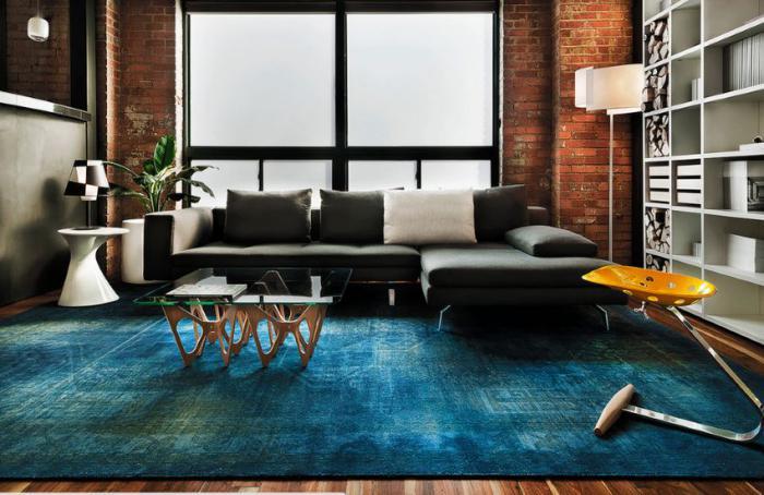 tapis-patchwork-bleu-salle-de-séjour-contemporaine