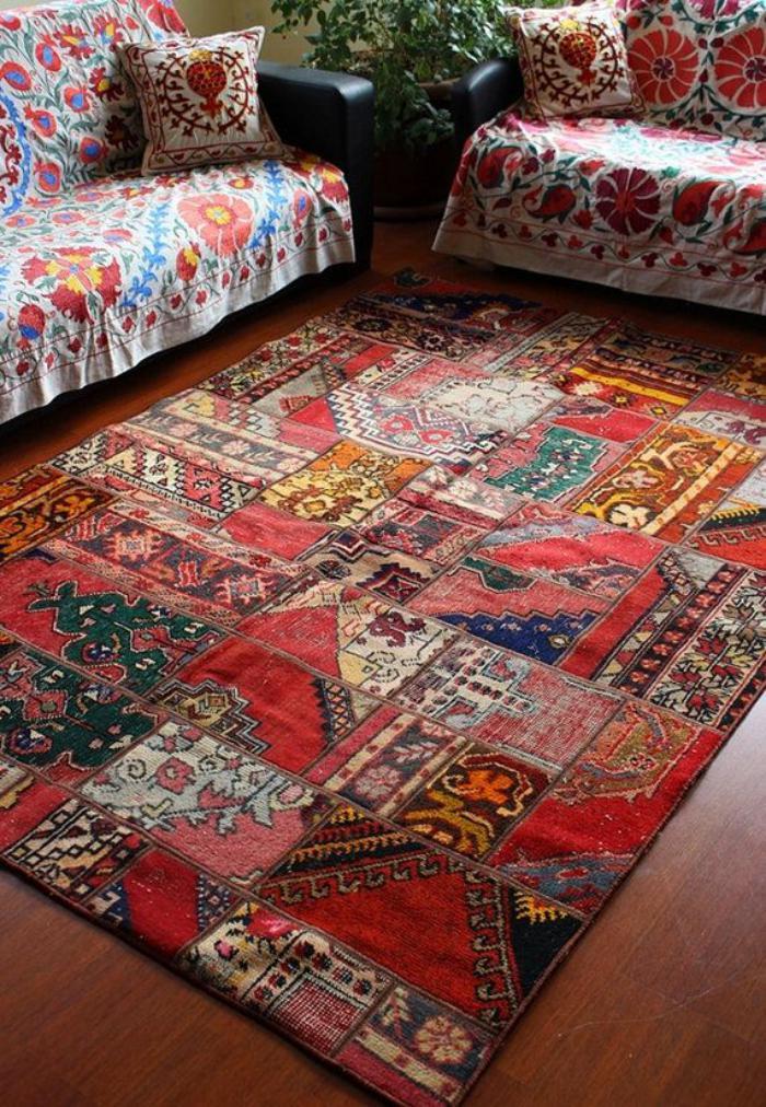 Déco Chambre Cocooning : Le tapis patchwork une décoration facile pour l