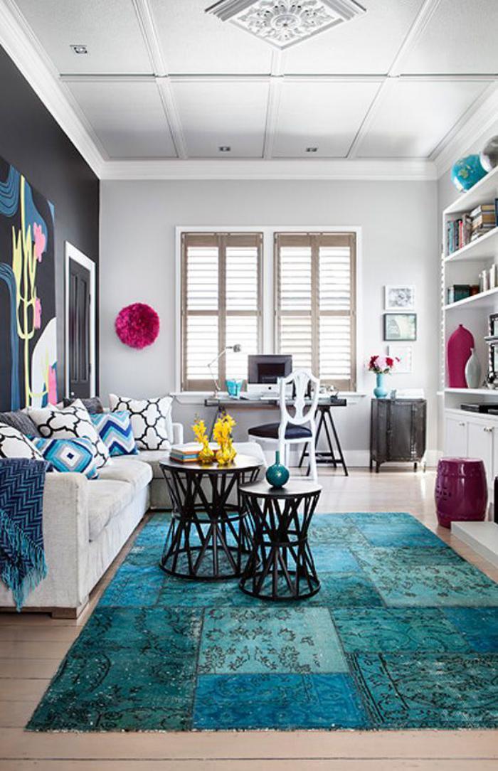 tapis-patchwork-turquoise-salle-de-séjour-style-original