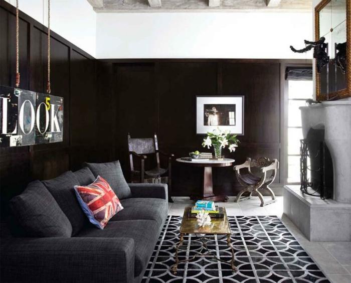 Tapis de salon moderne 42 id es qui vont vous charmer - Tapis noir et blanc pas cher ...