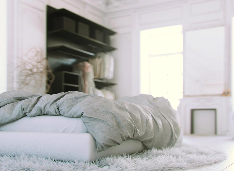 tapis-shaggy-blanc-et-noit-lignes-salon-amenagement-joli-tumblr-idee-chambre-a-coucher
