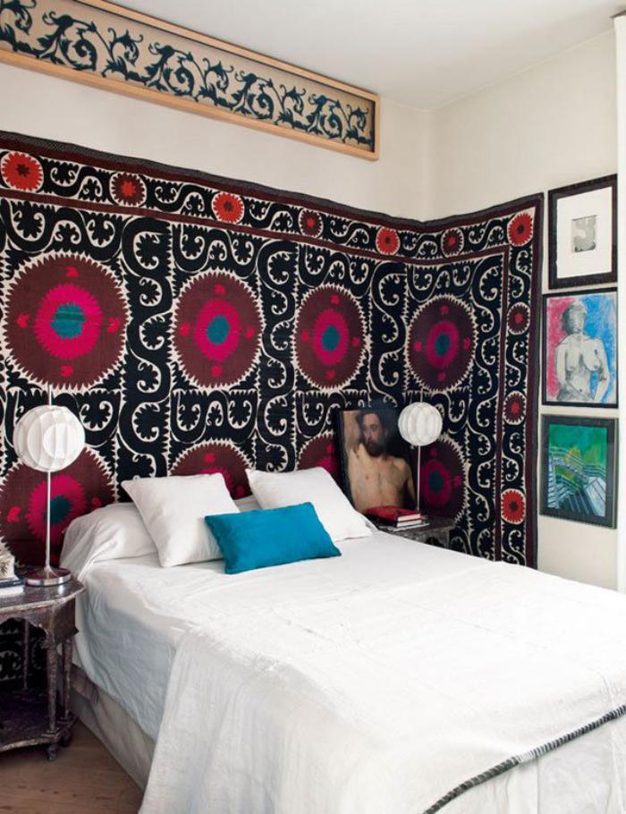 tentures-murales-boho-chic-mutlicore-chambre-à-coucher