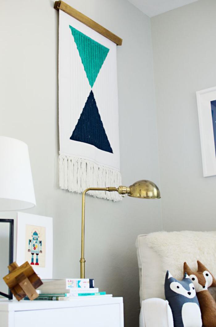tentures-murales-panneau-blanc-imprimé-triangulaire