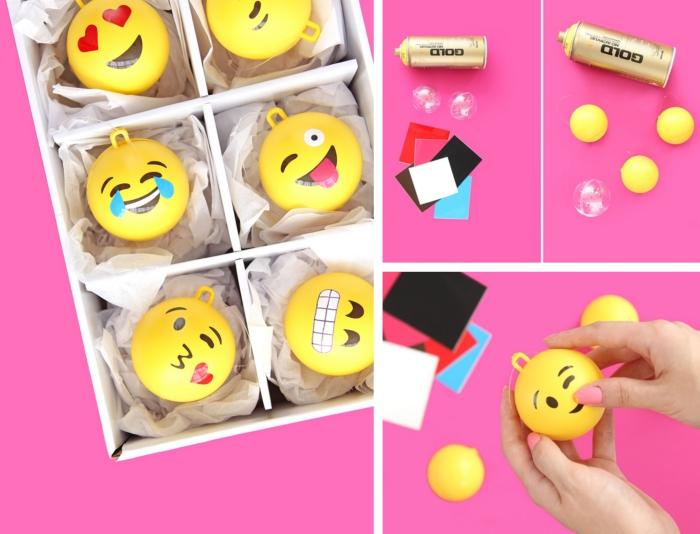 modèle de boule noel personnalisée à design emoji, boîte d'ornements jaunes de sapin à design emoji dessinés avec marquer noir