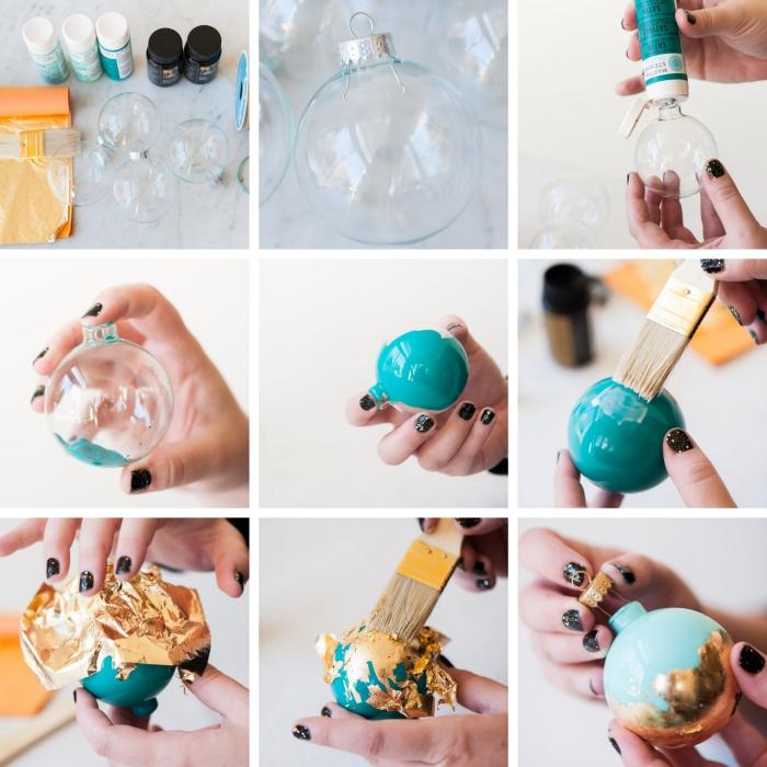 étapes à suivre pour décorer un ornement de sapin avec peinture et feuille d'or, idée deco noel fait main facile