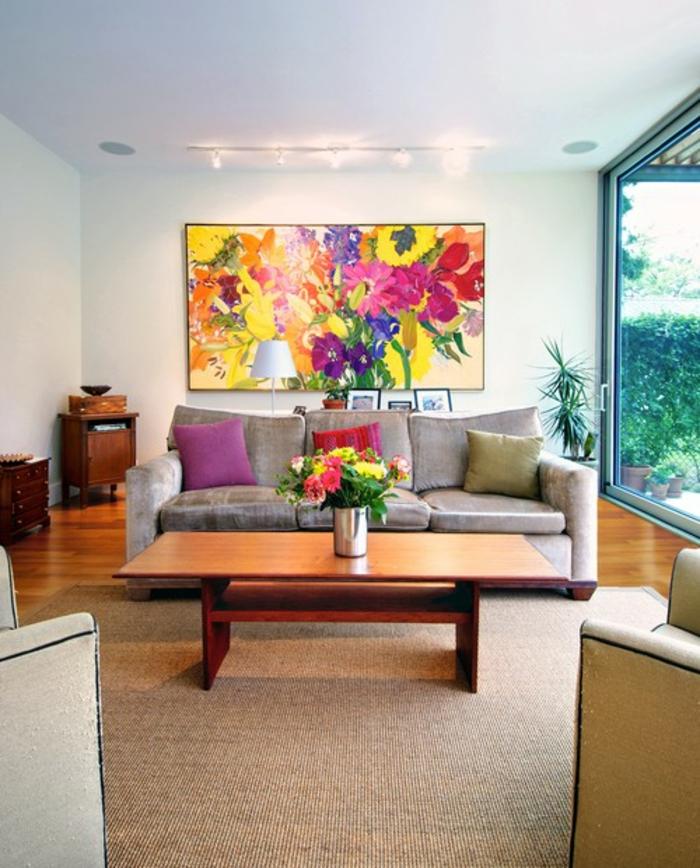 une-idée-peinture-salon-salle-à-manger-amenagement-salon-fleurs