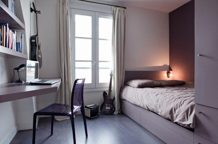 violet-clair-chambre-mauve-décoration-originale-lit