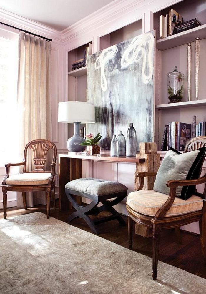 violet-clair-chambre-mauve-décoration-originale-tableau-abstrait