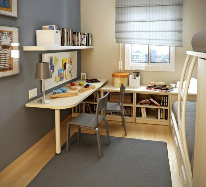 Formidable Bureau Pour Deux Enfants #14: étagères-de-bureau-chambre-d-enfant-lit-pour-