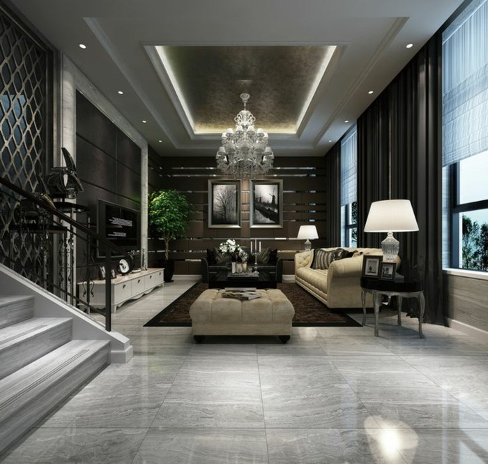 Salon moderne avec carrelage gris brillant