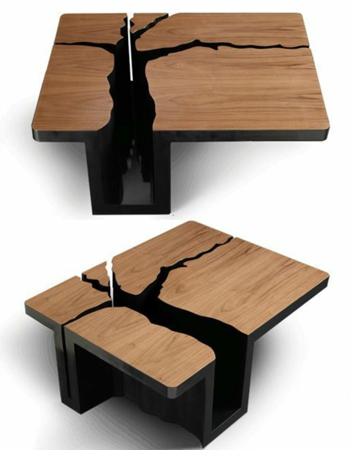 Table basse design bois - Table basse transformable pas cher ...