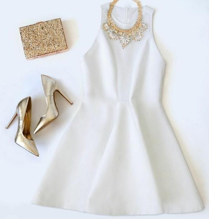 00-robe-habillée-pas-cher-robe-de-soire-blanche-avec-talons-en-or-petit-sac-a-dos-en-or