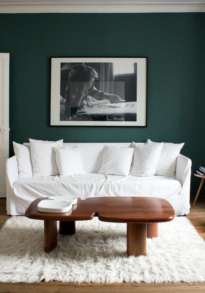 1-joli-table-basse-design-fly-table-basse-en-bois-foncé-et-murs-verts-tapis-blanc-en-fourrure