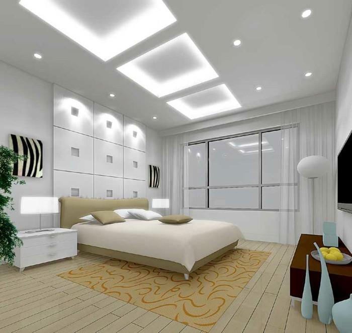 1-jolie-chambre-a-coucher-avec-plafonnier-design-faux-plafond-tendu-parquet-en-bois-clair