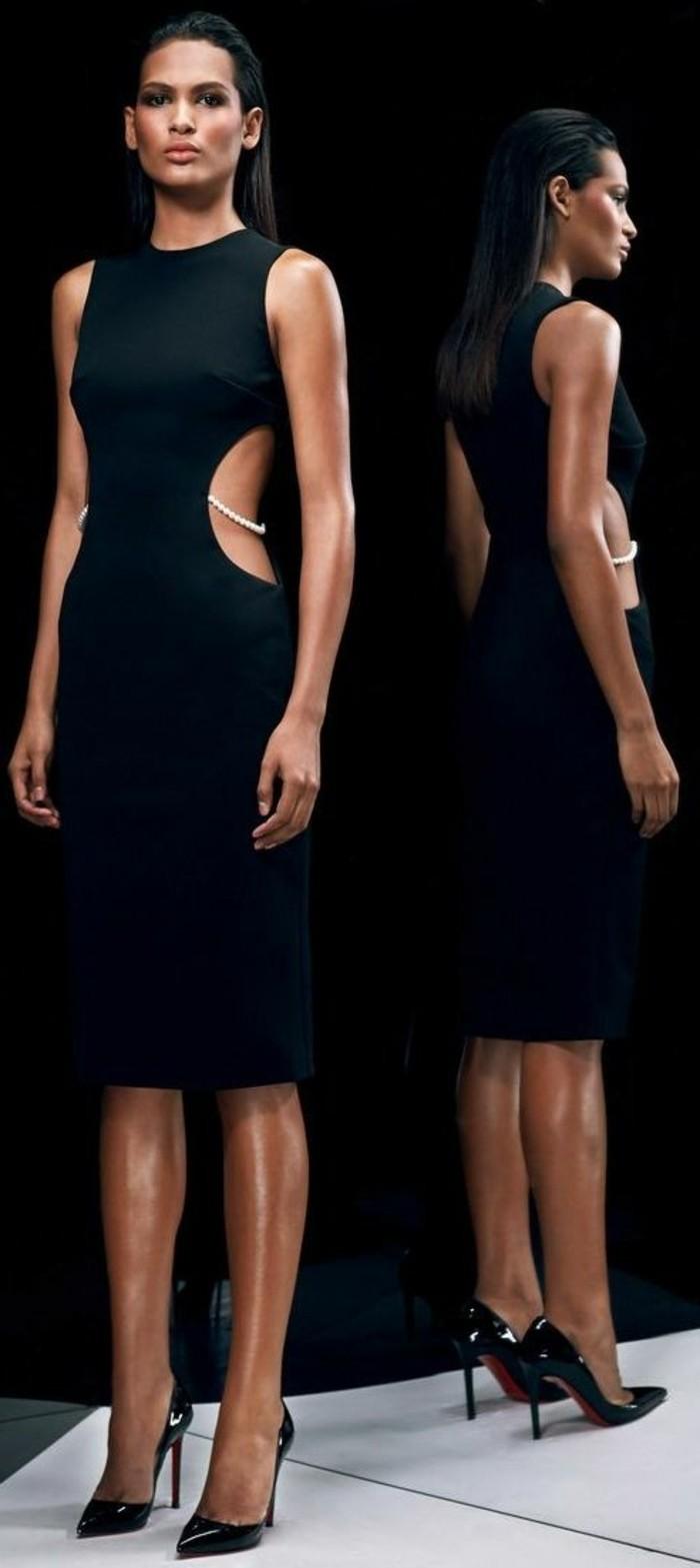 1-jolie-robe-habillée-pas-cher-robe-de-soire-noire-robe-longue-mango-noire-cheveux-noirs
