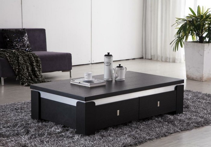 Table basse salon rangement for Table de salon relevable