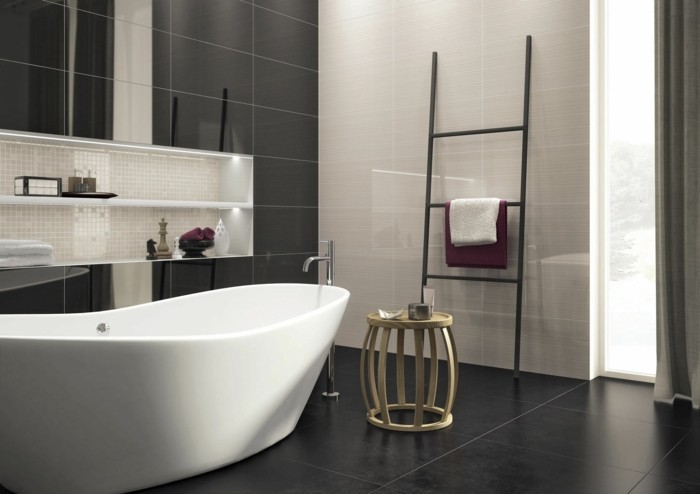 La salle de bain noir et blanc les derni res tendances - Modele de salle de bain moderne ...