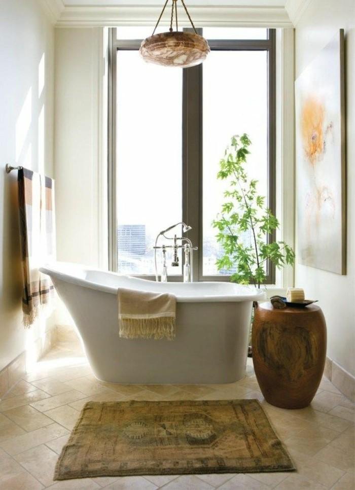 1-meuble-salle-de-bain-teck-ikea-avec-baignoire-blanche-et-carrelage-beige