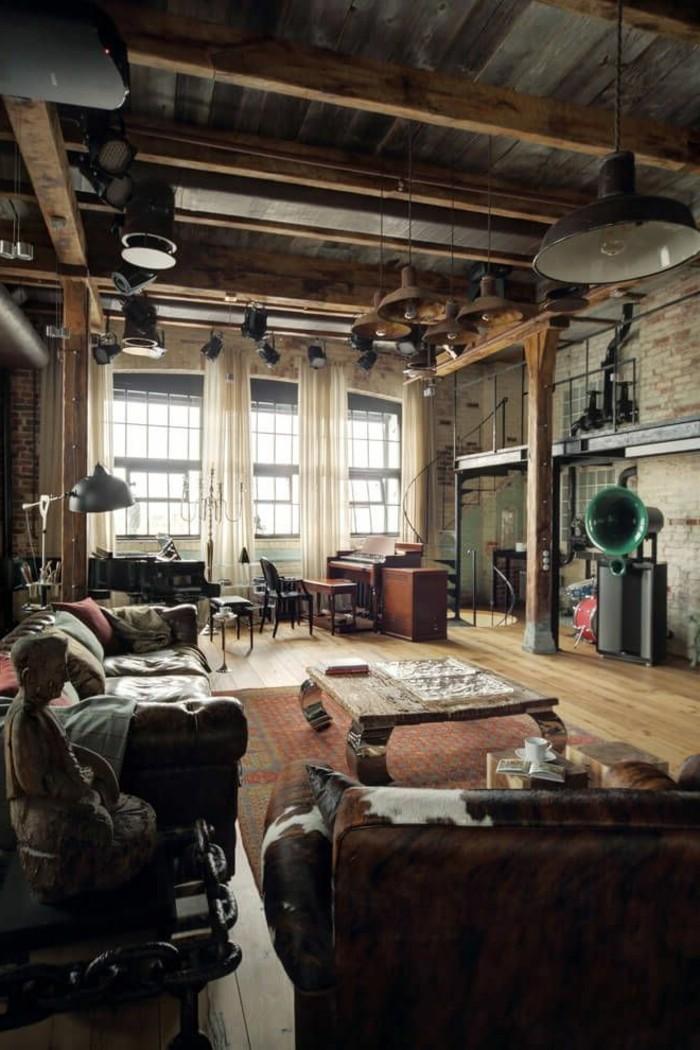 1-meuble-style-industriel-pas-cher-pour-loft-et-associé-sol-en-bois-clair-plafond-sous-pente
