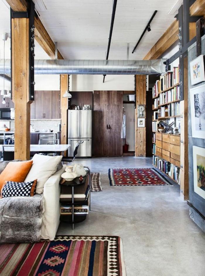 1-salon-meuble-style-industriel-pas-cher-pour-loft-et-associé-tapis-coloré-canape-en-cuir-beige