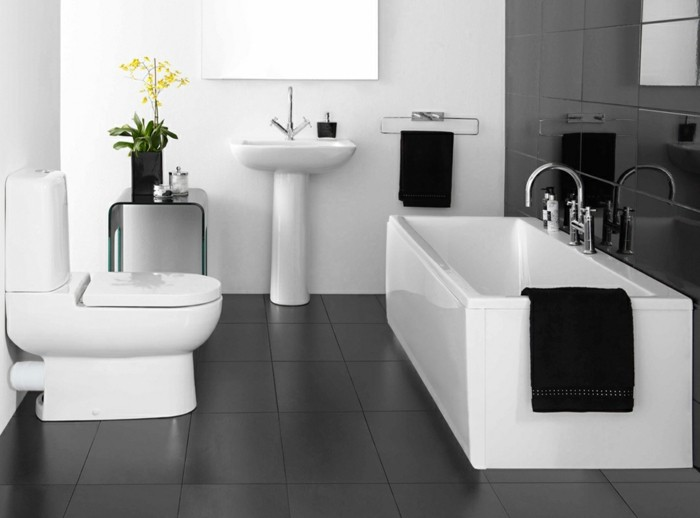 La salle de bain noir et blanc les derni res tendances for Refection murs salle de bain