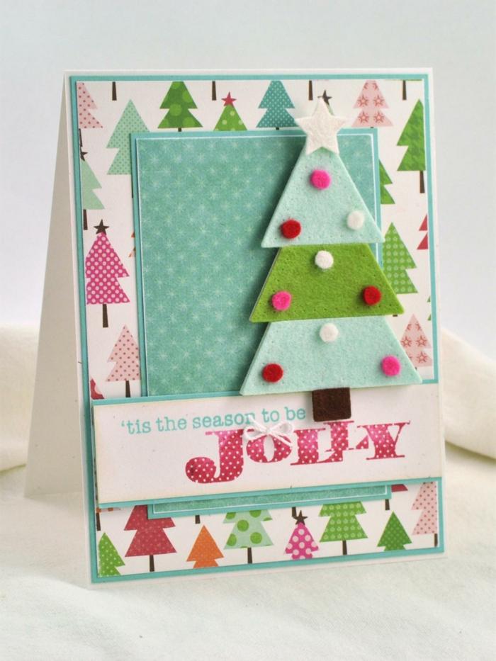 Belle-carte-joyeux-noël-festive-diy-idée-en-bleu-cool