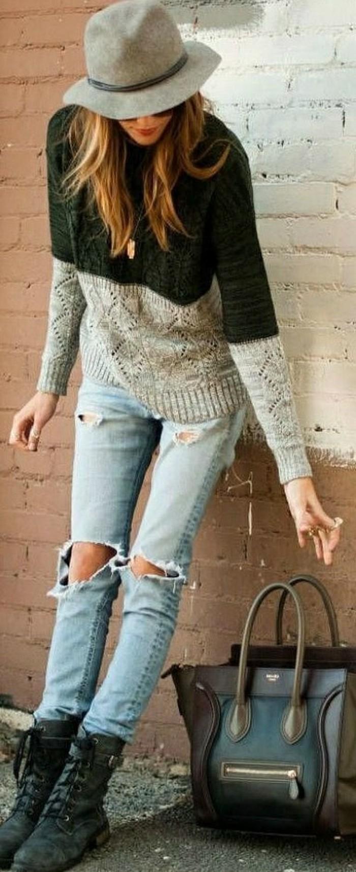 Belle-tenue-pull-jacquard-femme-mignon-jean-sac-a-main-cuir