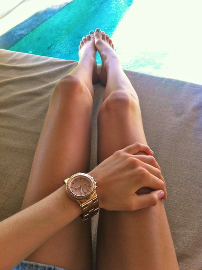 Cool-montre-femme-doré-rose-michel-kors-piscine-nail-polish