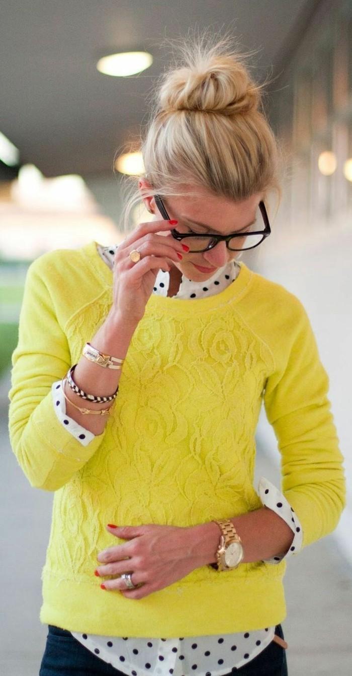 Cool-montre-femme-doré-rose-michel-kors-pull-jaune-lunettes-geek